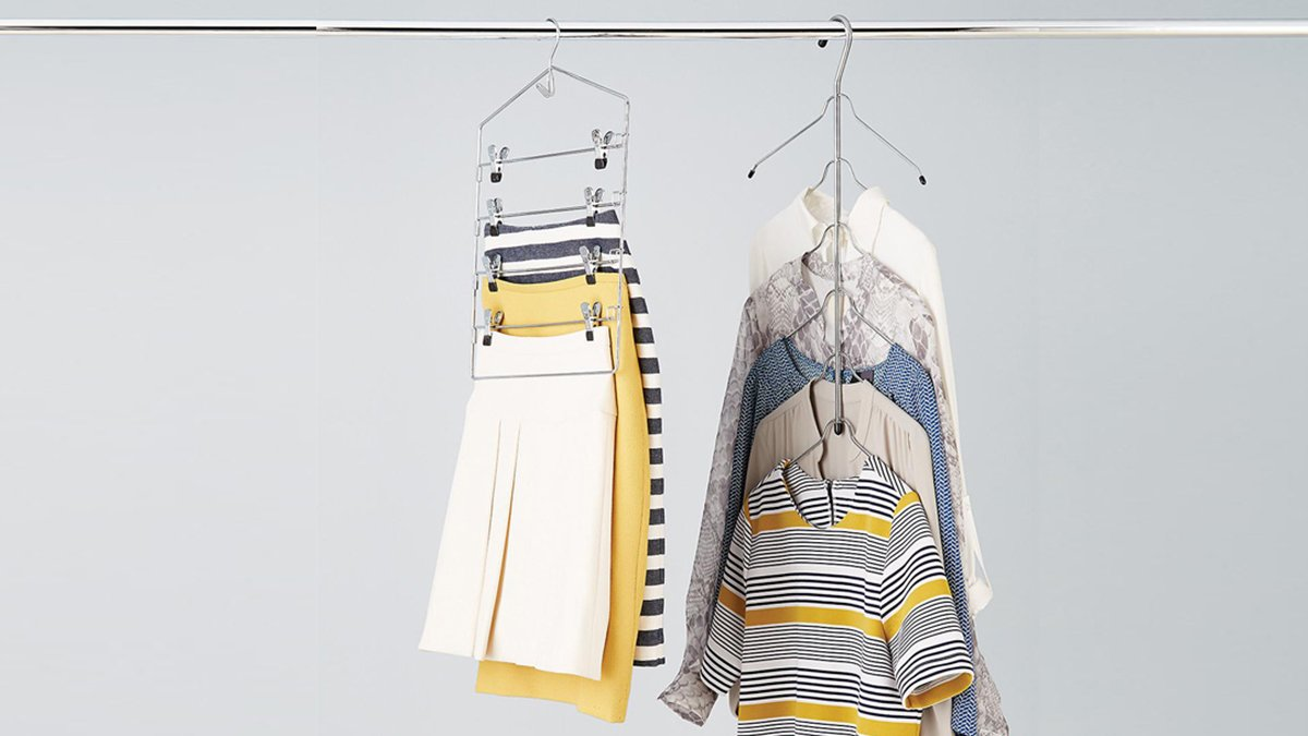 Image: Container Store Chrome Metal 6-Tier Blouse & Shirt Tree