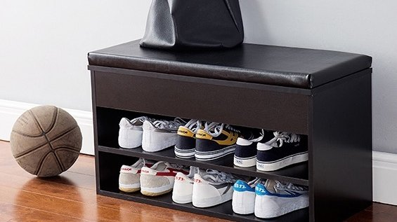 Image: DormCo Yak About It® The Shoe Rack Bench with Top Cushion - Black
