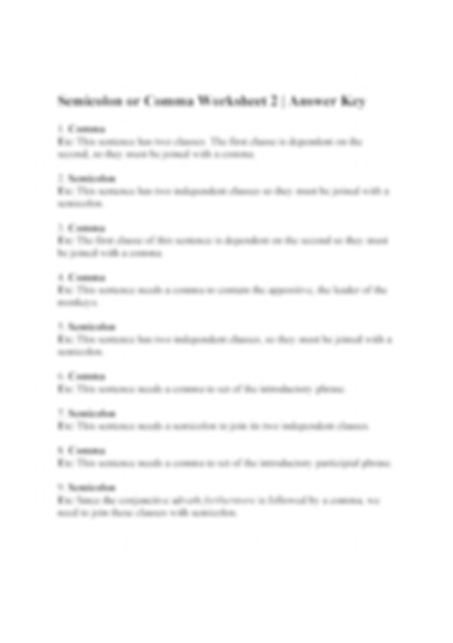 answers.jpg - Semicolon or Comma Worksheet 2 | Answer Key ...
