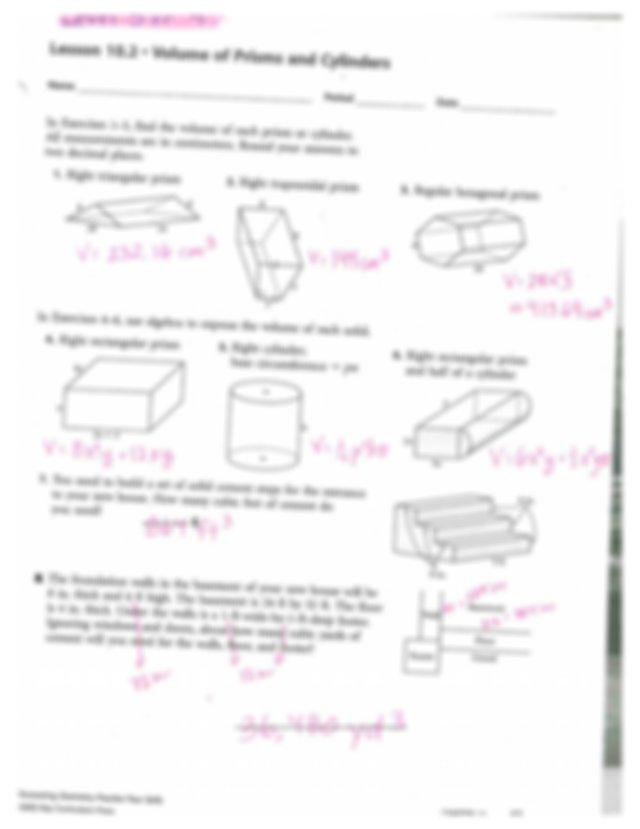 Lesson 10.2 Volume of Prisms and Cylinders Worksheet (LT ...