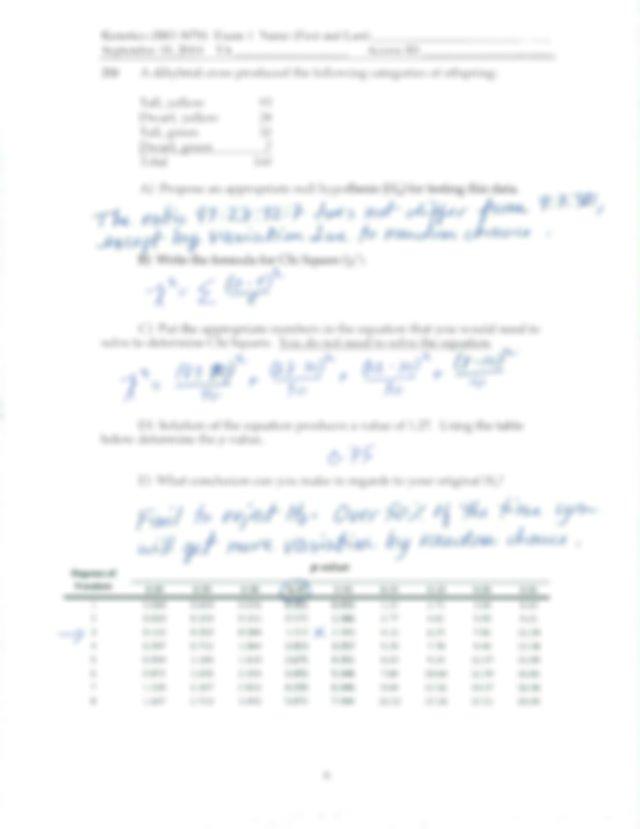 Keys Exam 1 - L Genetics(BIO 3070 Examl Name(First and ...