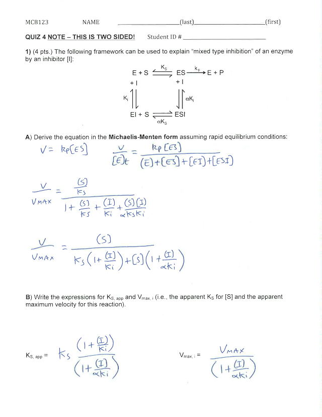 Quiz4Key-6 - MCB123 NAME(last(first QUIZ 4 NOTE THIS IS ...