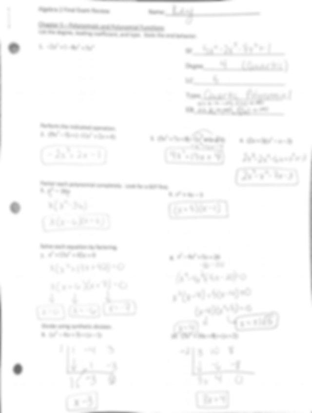 Algebra 2 final exam Review Answer key.pdf | Course Hero