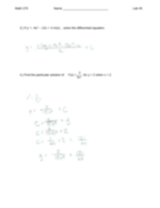 Page 2 Math 270 Name Lab 5 5 Given F x 2x F 2 1 F1 3 find