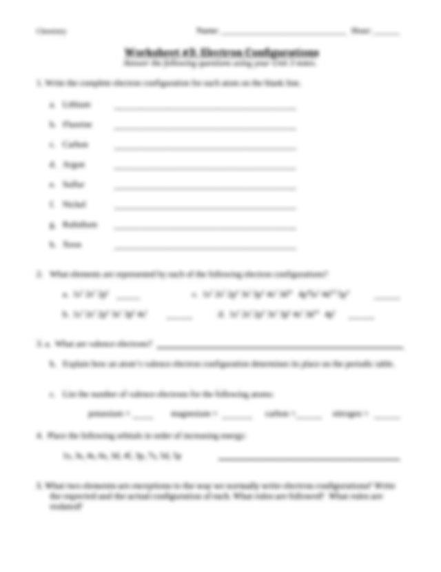 Atomic Orbital Worksheets Doc