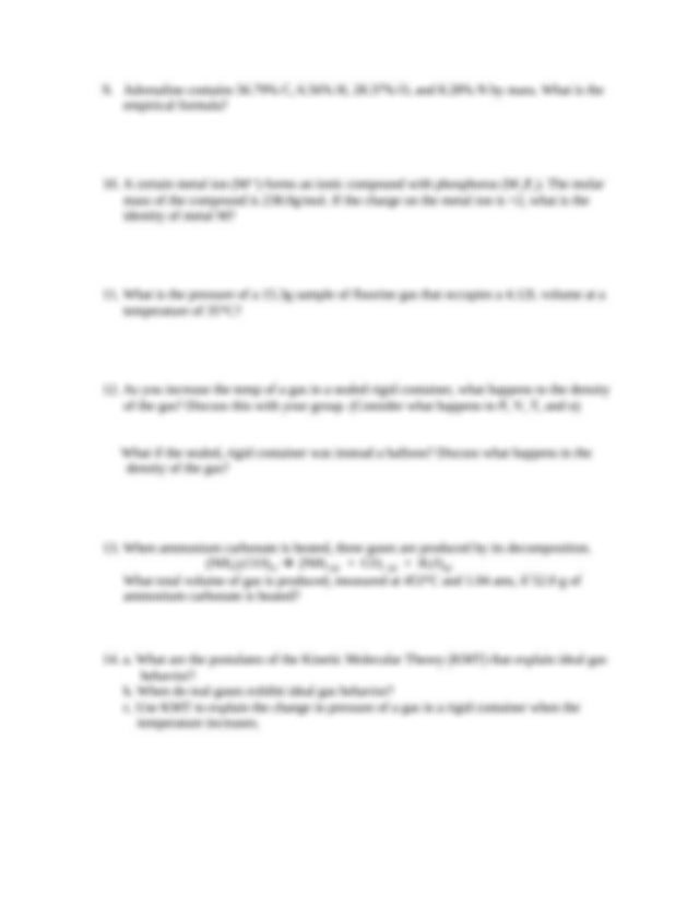 Chemistry 101 Final Exam Review Sheet - Chemistry 101 ...