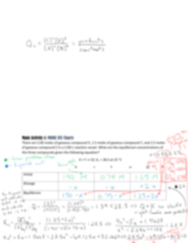 SI Worksheet 1-29-18 ICE Tables, Le Chateliers Principle ...