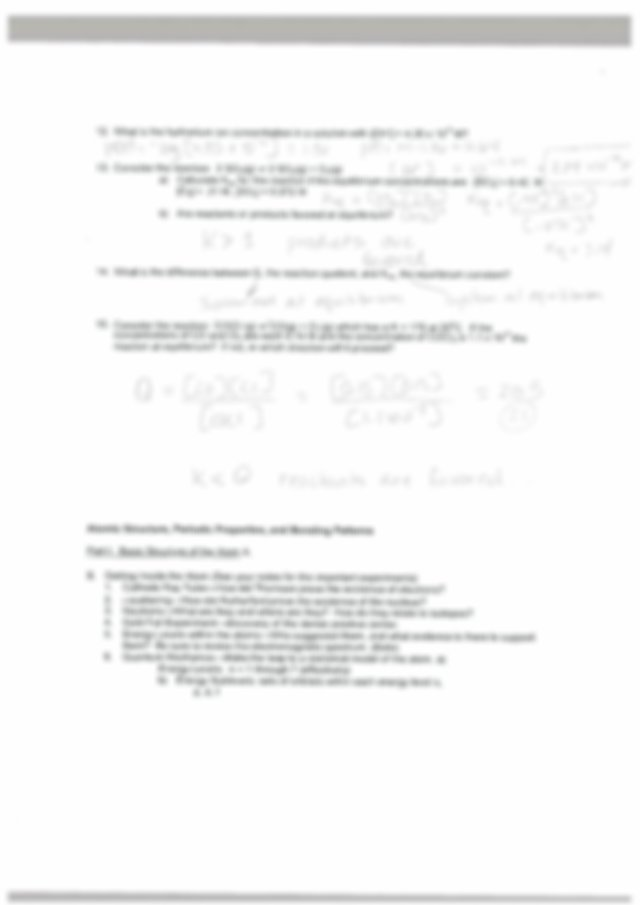 Honors Chemistry 2nd Semester Final Review Sheet ANSWERS ...