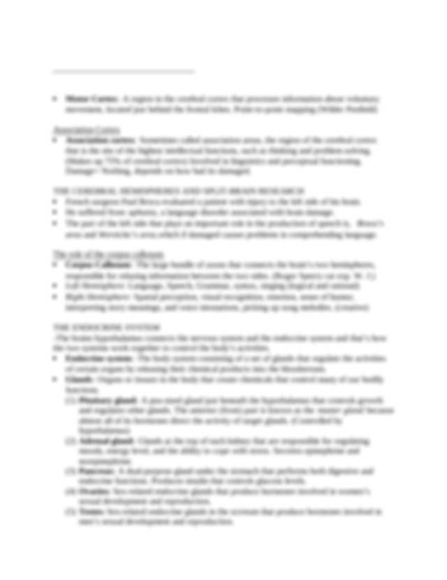Psych Exam 1 Review - (1 Limbic system A loosely connected ...