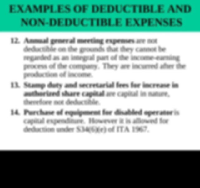 EXAMPLES OF DEDUCTIBLE AND NON DEDUCTIBLE EXPENSES 3 ...