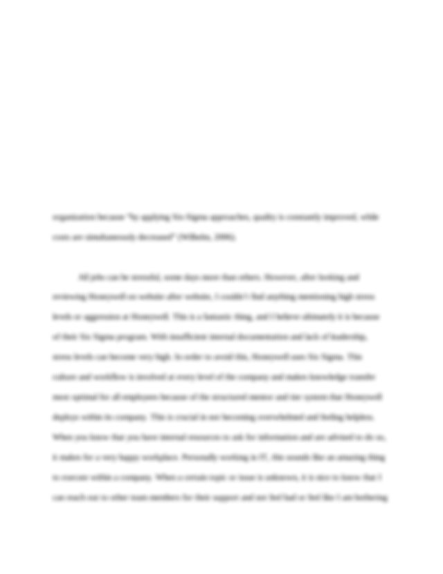 Term Paper Honeywell