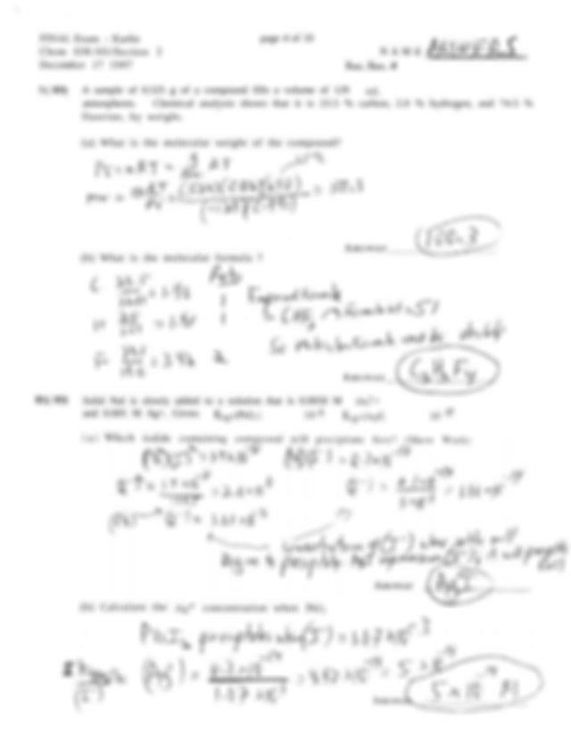 Intro Chem Final Exam Answers - FINAL Exam 030.101 ...