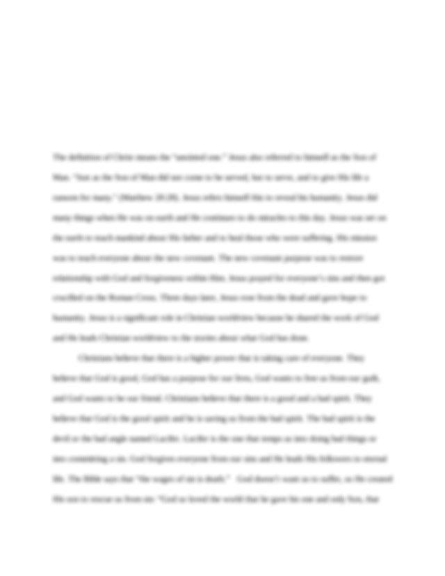 Gospel Benchmark - Mikayla Dunn Christian Worldview 101 ...