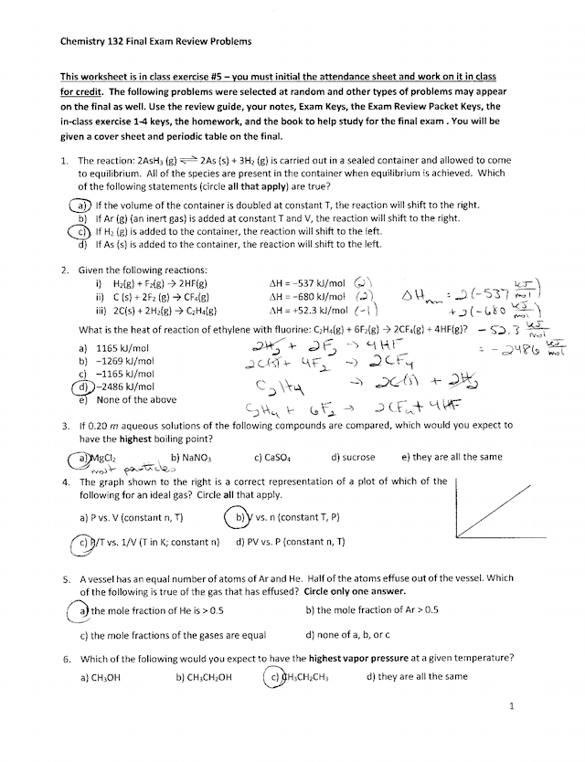 CHE132 WQ17 Final Exam Review Solutions   Chemistry 132 ...