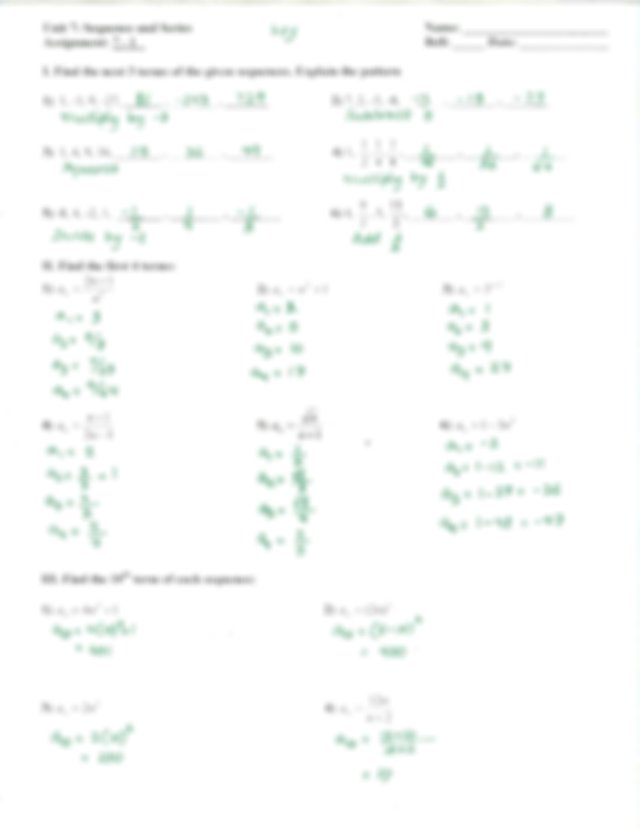 Assignment 7-1 Answer Key - Unit 7 Sequence and Series ...