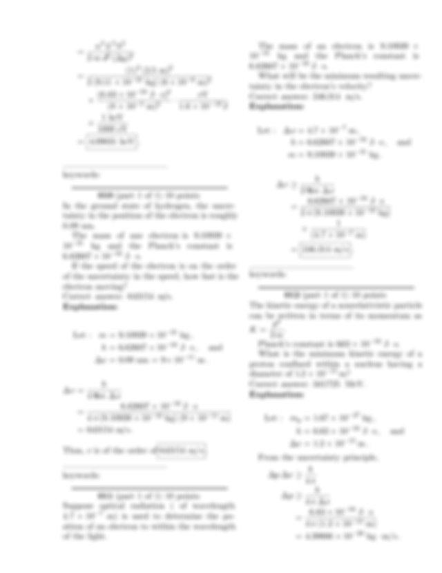 What is its de Broglie wavelength Correct answer 1 m ...