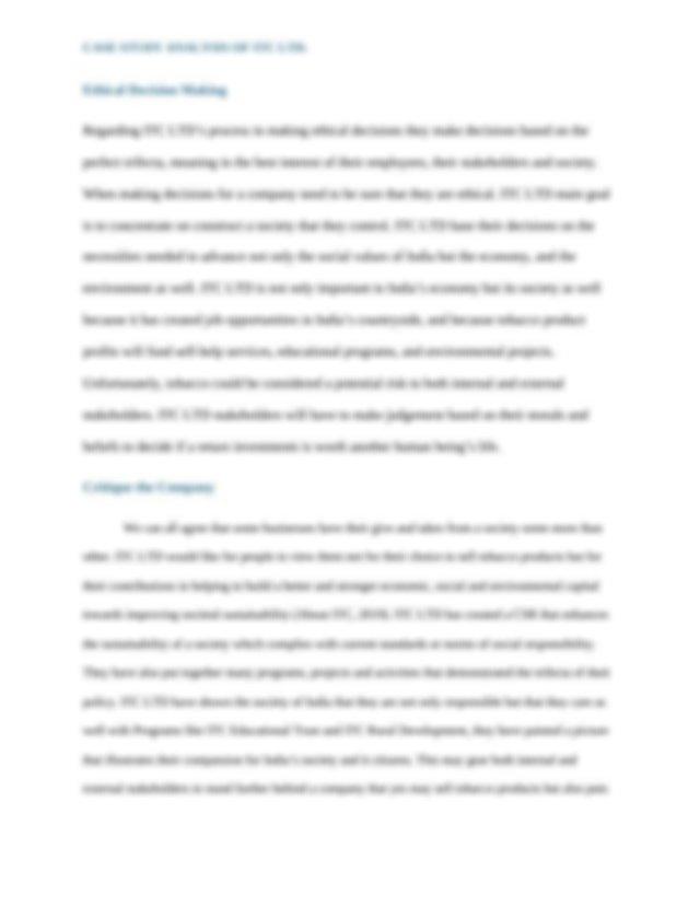 Collegecorporate social responsibility case study itc ltd