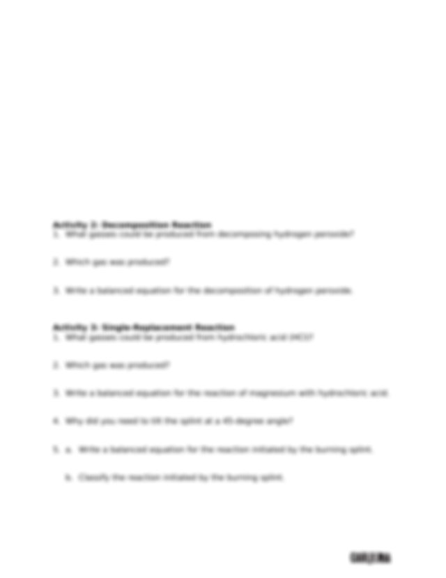 Lab11Questions - Investigating Chemical Reactions Pre ...