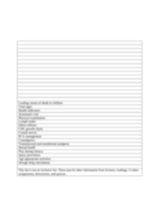 EXAM 1 Blueprint .doc - NURS 430 Exam 1 Blueprint Wong ...