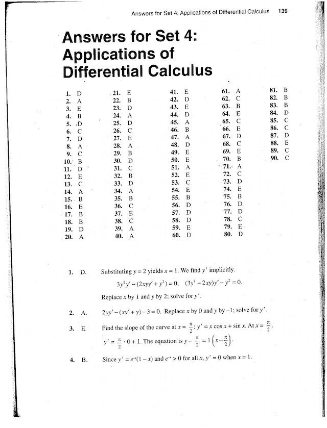 Barrons Set 4 Applications of Differentiation MC answers ...