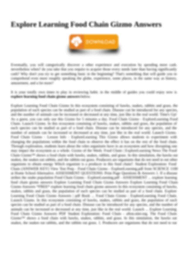 Answer Key To Food Chain Gizmo examgreencom Gizmos are ...