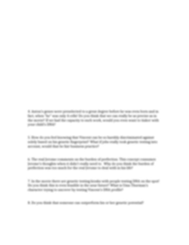 GATTACA movie questions_Biol134.docx - GATTACA movie ...