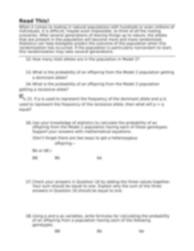 The Hardy-Weinberg Equation-Worksheet - The Hardy-Weinberg ...