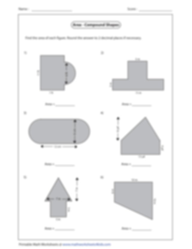 composite review guide   Name Score Area Compound Shapes ...