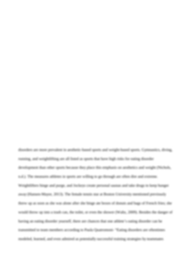 Essay on eating disorders in athletes