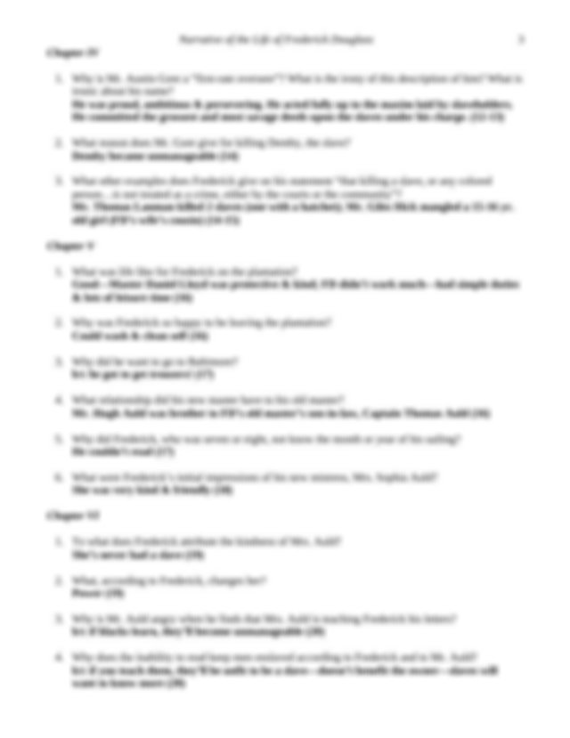 Study Guide Answer Key - Narrative of the Life of ...