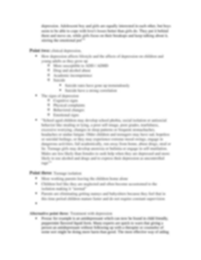 Teenage Depression Essay Outline - Paragraphone:Intro ...