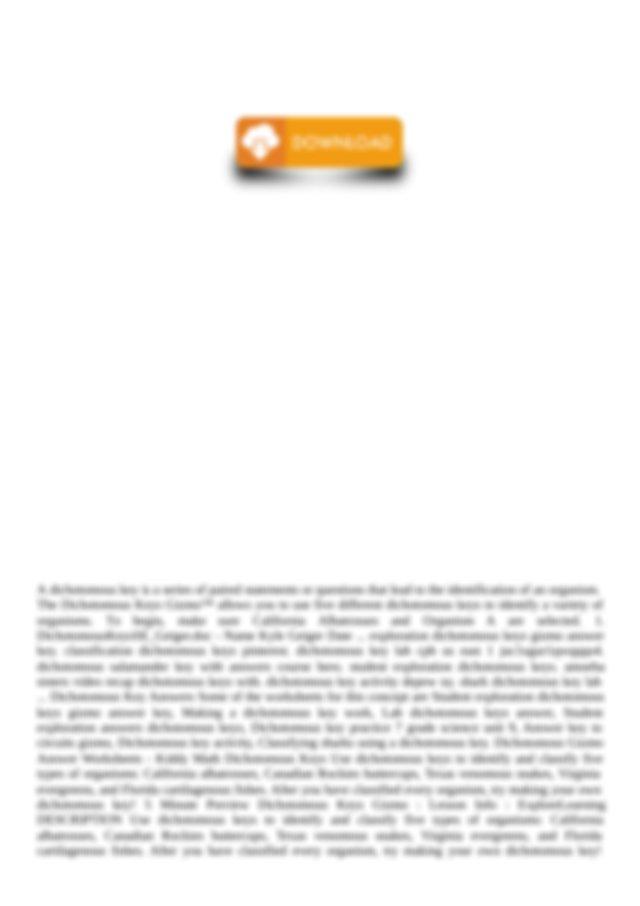 Student Exploration Answers Dichotomous Keys.pdf - Student ...