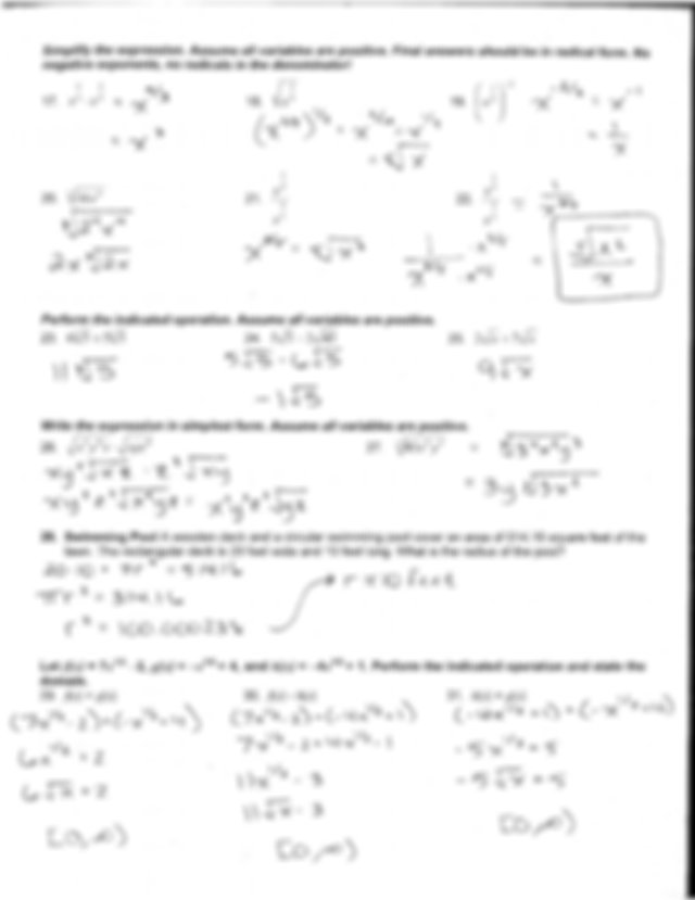 Chapter 6 Test Review Answer Key - Algebra 2 CP Name ...