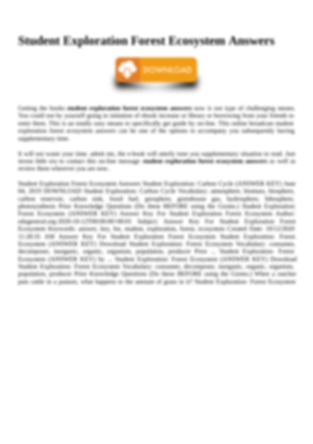 docx Forest Ecosystem Forest Ecosystem Answer Key ...