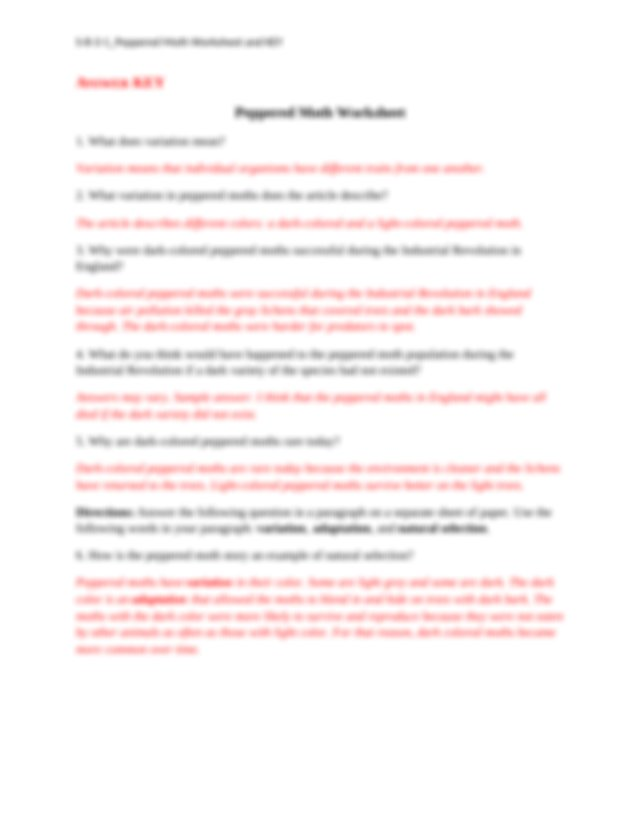 S-8-3-1_Peppered Moth Worksheet and KEY - S-8-3-1_Peppered ...