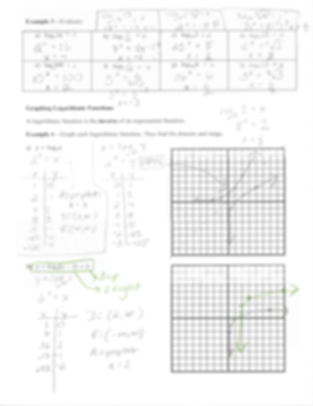 chapter 83 notes logarithmic functions as inverses