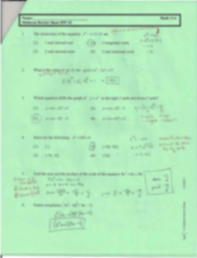 Midterm Review #2 Answer Key - Name-M idterm Review Sheet ...