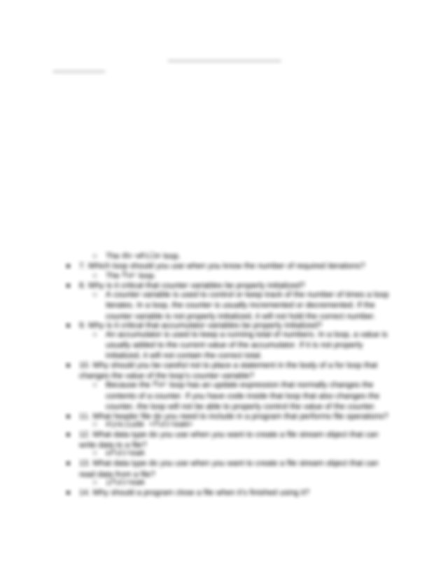 COSC 1436 Chapter 5 Review Answer Key - C Ch.5 Review ...