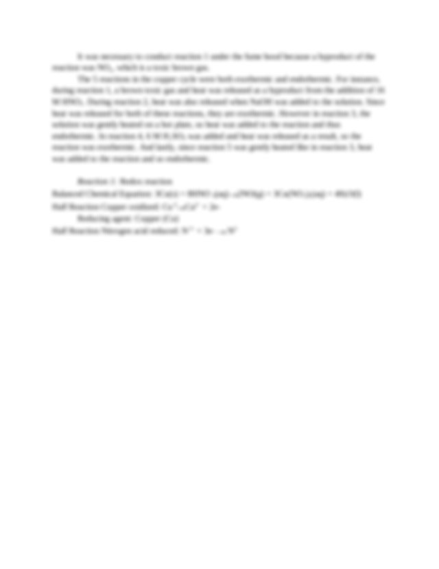 Oxidizing Agent Nitric Acid HNO 3 Reaction 2 Precipitation