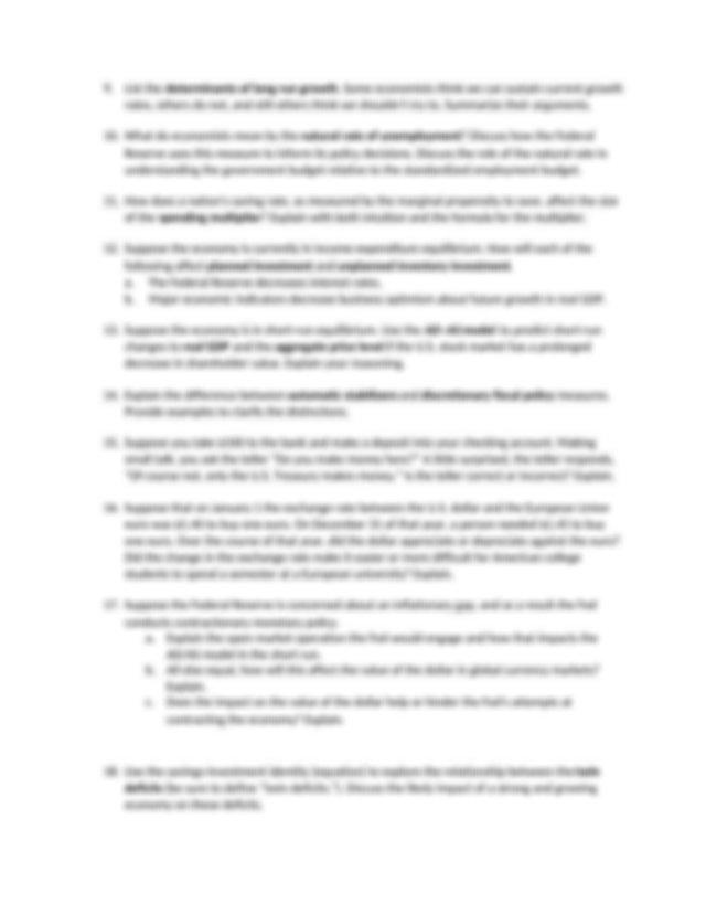 Final Exam Practice Short Answer Questions 1 - Economics ...