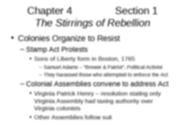 U_S_ History I Chapter 4 Section 1 The Stirrings of ...