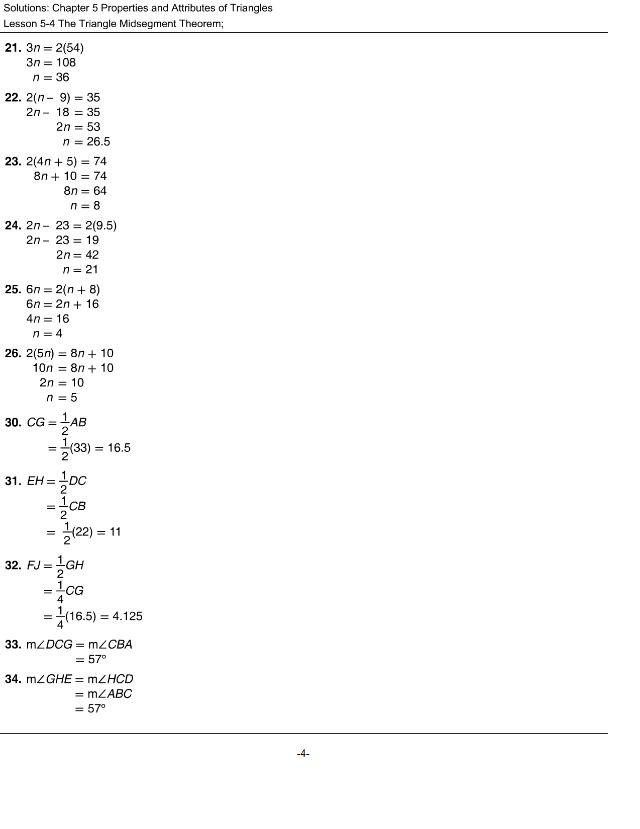 midsegment theorem homework key - Answers Chapter 5 ...