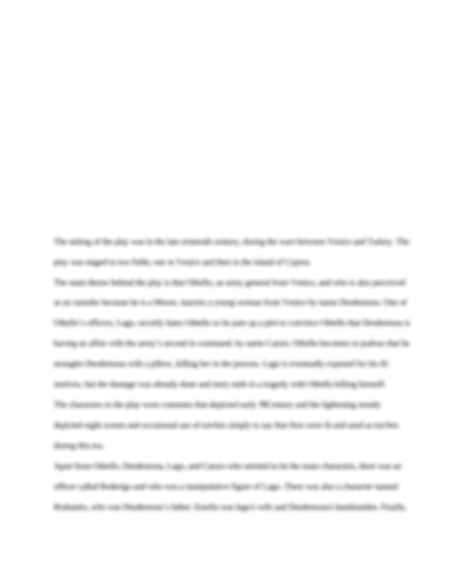 Othello timeline homework help