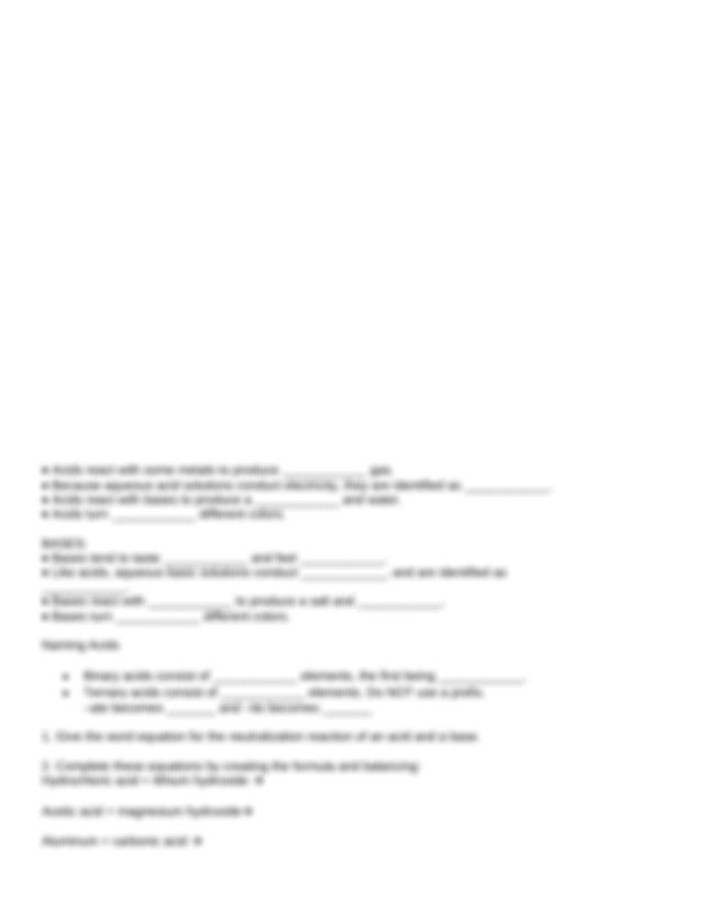 review sheet   Worksheet Acids Bases and Salts Review Name ...