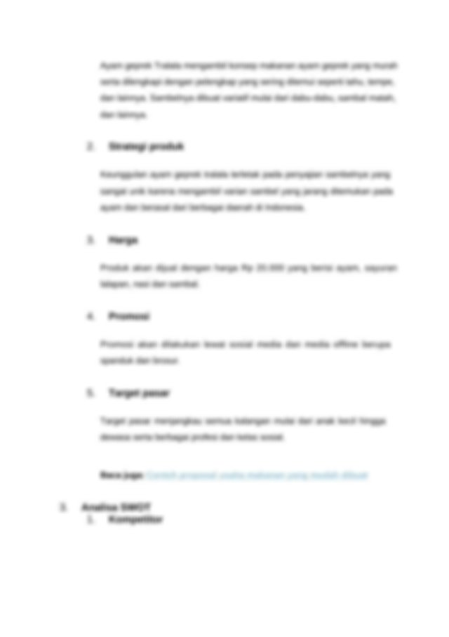 Contoh Proposal Usaha Untuk Bisnis Makanan dan Minuman ...