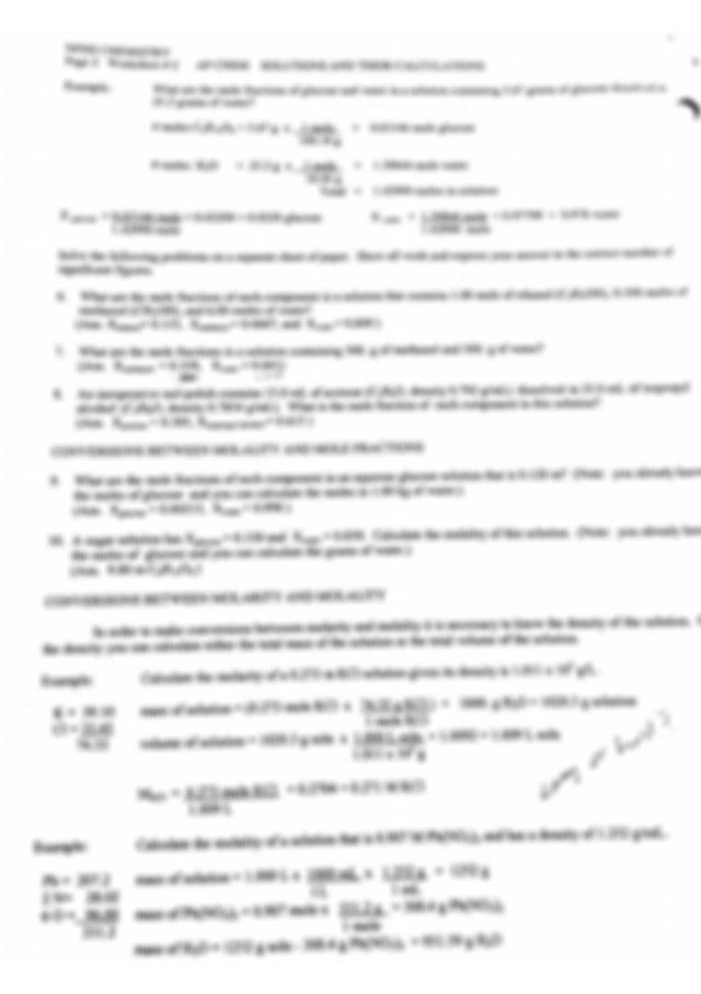 Molality Notes - NFHS CHEMISTRY AP CHEM WORKSHEET 2 ...
