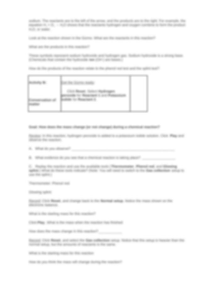 Student Exploration- Chemical Changes (ANSWER KEY).docx ...