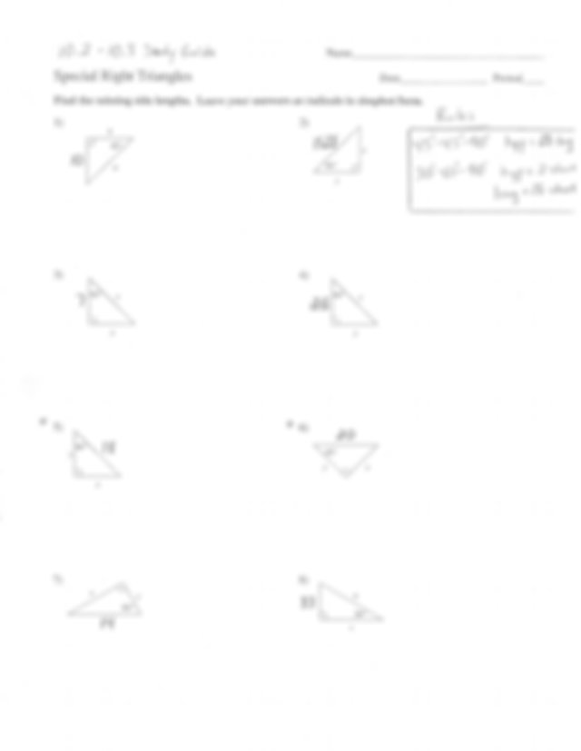 10.2 - 10.3 Special Right Triangles Study Guide - CHAPTER ...