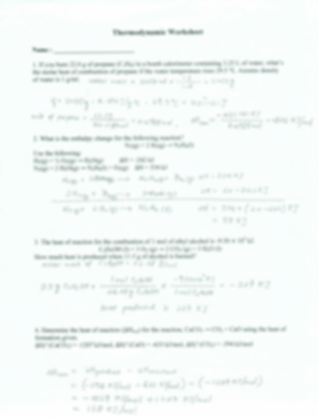 Thermodynamic Worksheet answer key.pdf - Thermodynamic ...