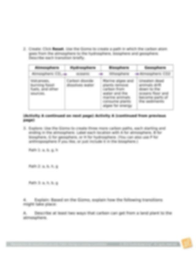 CarbonCycleSE.docx - Name Date Student Exploration Carbon ...